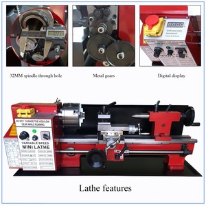 Image 1 - Brushless Motor All Metal Gears 650w Mini Lathe Machine Metalworking Digital Control Benchtop Milling 32mm Spindle Hole