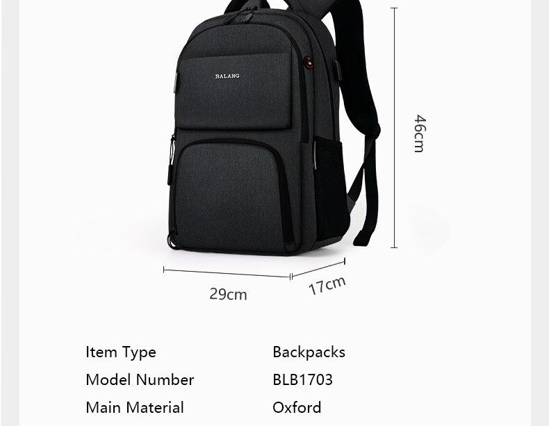 BALANG Brand 2019 New Laptop Backpacks for 15.6 inch Men Backpacks for Teenagers Waterproof Backpack School Bags Travel Backpack