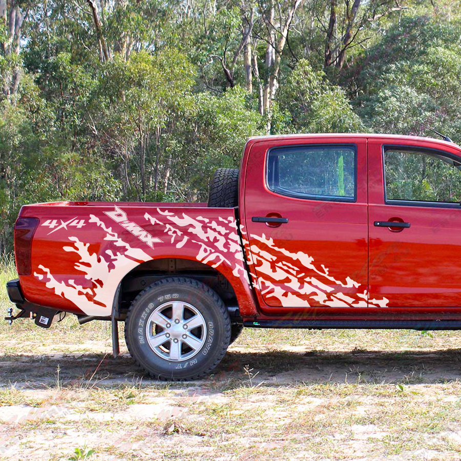 Personalizzare Auto Decalcomanie 2 Pcs Posteriore Del Tronco Pneumatico Tracce Styling Grafica Del Vinile Proteggere Scratch Adesivi per Auto per Dmax 2012 - 2