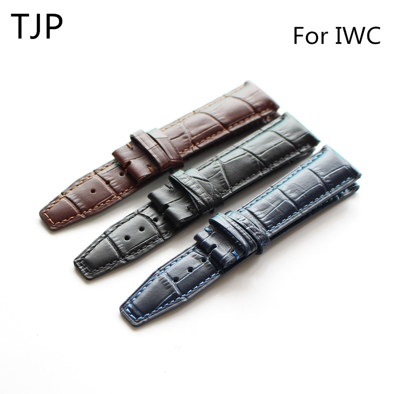 TJP 20mm 21mm 22mm Brown Black Blue Genuine Leather Watch Strap Watchbands For IWC PORTUGIESER CHRONOGRA Bracelet With Word цена и фото