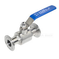 MEGAIRON 1 OD 25mm Stainless Steel 304 Sanitary Full Port Ball Valve Clamp Type Weld Ferrule with Handle