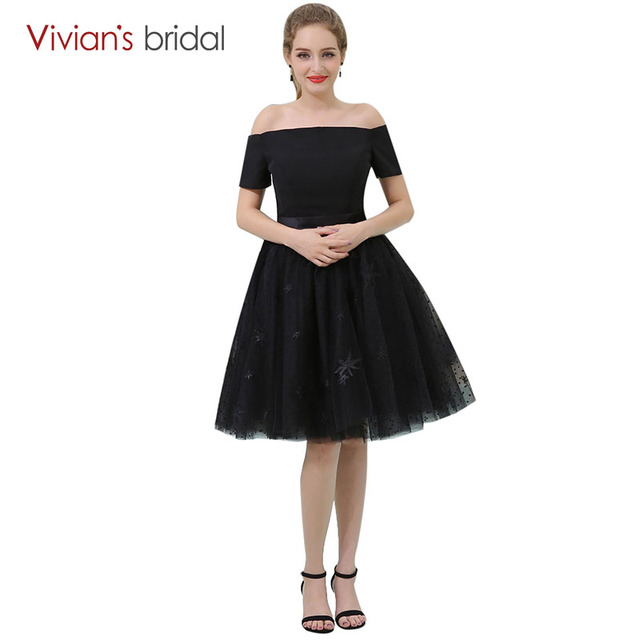Simple Black Prom Dresses Vivians Bridal Off Shoulder Boat Neck A