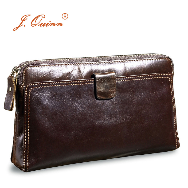 J.Quinn Fashion Boss Male Leather Clutch Wallets Genuine Cow Hand Bags for Mens Soft Long Business Zipper Clutch Purse Walet New