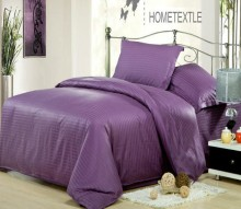 Purple Satin Bedding set 100% Cotton bed sheets Solid color Stripe duvet cover linen bedspread quilt King Queen size full 4PCS