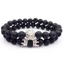 2 pieces / set of classic charm bracelet men's lion head paving CZ crown natural bracelet lava stone beads men and women jewelry