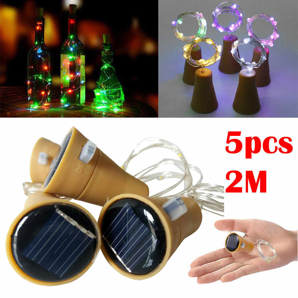 5PCS 2M Cork Shaped LED String Light Copper Wire String Holiday Outdoor Fairy Lights For Christmas Party Wedding Decoration