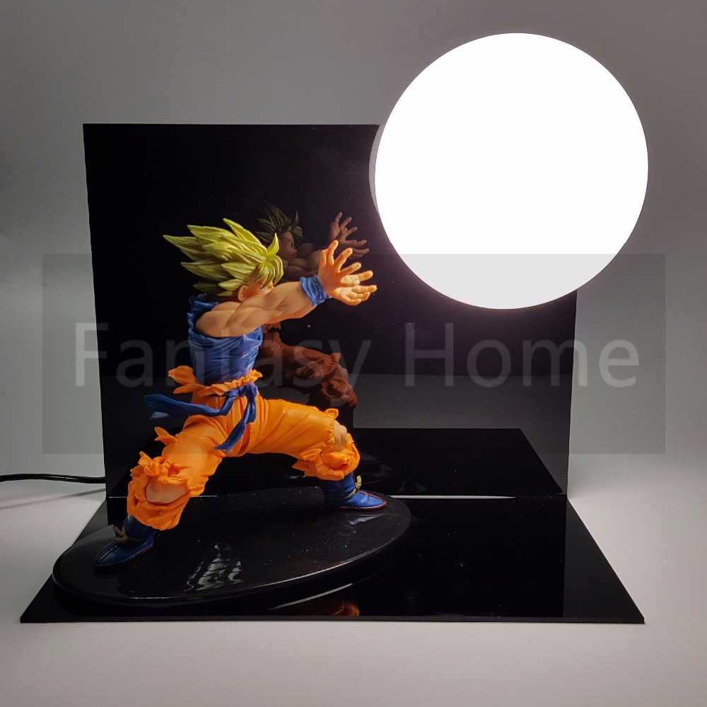 Dragon Ball Z Son Gokou Kamehameha DIY Display Toy Dragonball Goku Action Figure Super Saiyan Figuras DBZ Figure+Bulb+Base DIY21 dragon ball gokou pvc action figures 15cm dragon ball z blue hair goku model doll figuras dragonball z dbz