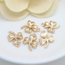 6PCS 13x17MM 24K Champagne Gold Color Plated Brass Clover Charms Pendants High Quality Diy Jewelry Accessories