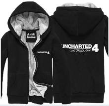 Game Uncharted 4: A Thieft's End Printing Pattern Zip up Super Warm Fleece Thicken Hoodies Pullover Coat