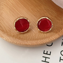 New Korean Chic Red Crystal Round Simple Stud Earring 2019 Fashion 925 Silver Pin Metal Classic Charm For Women Jewelry