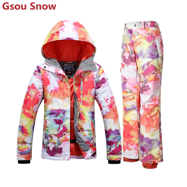 Gsou ski suits for women wintersport warm ski suit female colorful snowboard jacket skiing snow pants manteau femme hiver