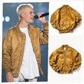 Mens chaquetas y abrigos de justin bieber Justin Bieber marca ropa de hombre ropa de la fuerza aérea uno de Plata/Verde/Oro ma1 bomber jacket