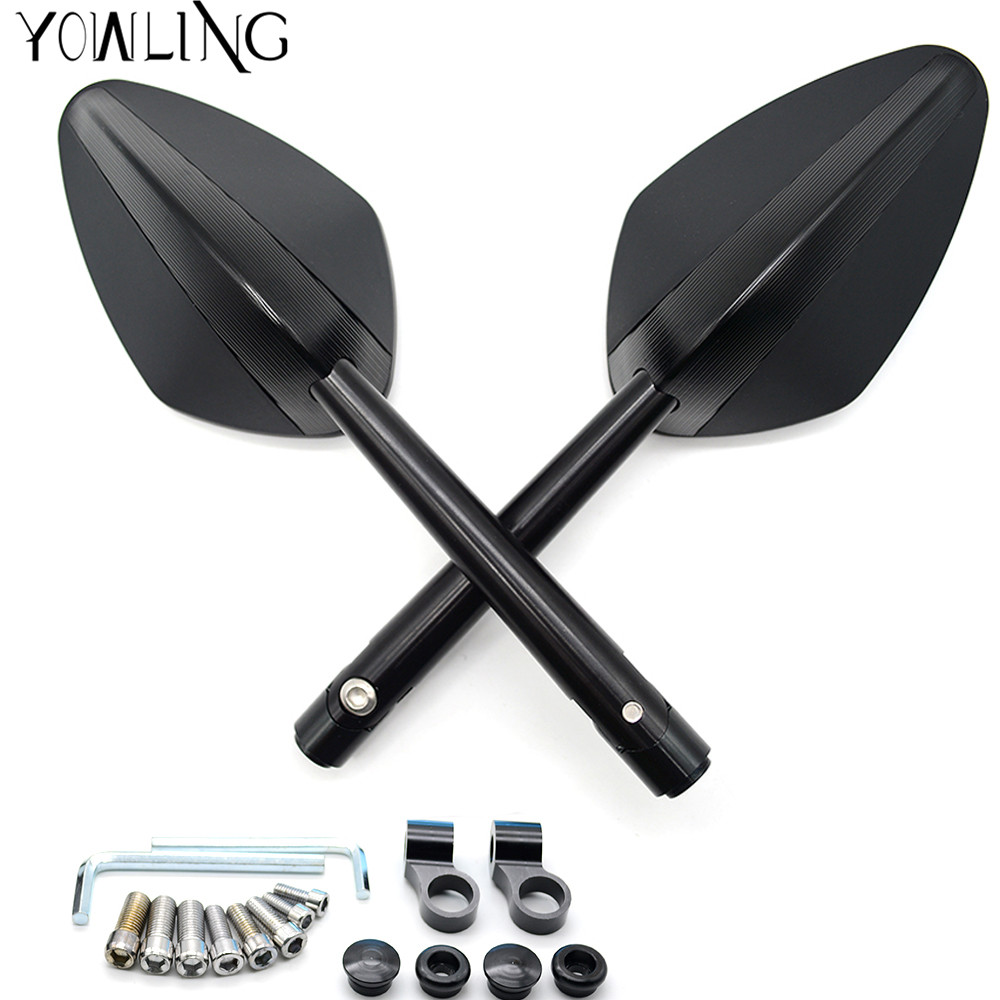 Motorcycle rear side mirrors Aluminium CNC Rearview Mirrors For yamaha ktm Honda CB650F CB1000R CBR 600f4i CB400 Aprilia RSV4 R rearview mirrors common for yamaha mt09 07 zx6r zx7r zx10r zx14r ninja650r er6n cnc mirror motorcycle scooter accessories