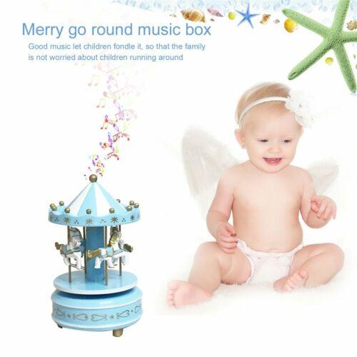 Круглые музыкальные шкатулки Merry-go-round, геометрические музыкальные украшения для детской комнаты, подарки унисекс, Деревянная Рождественская карусель, коробка для домашнего декора, 1 шт