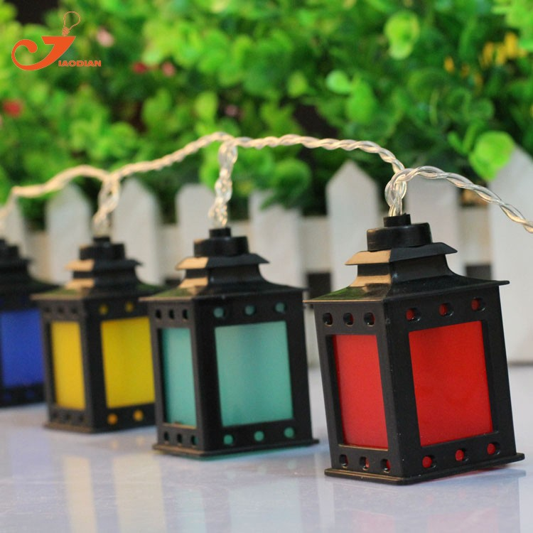 black lantern multicolor LED lights clear wire  (7)