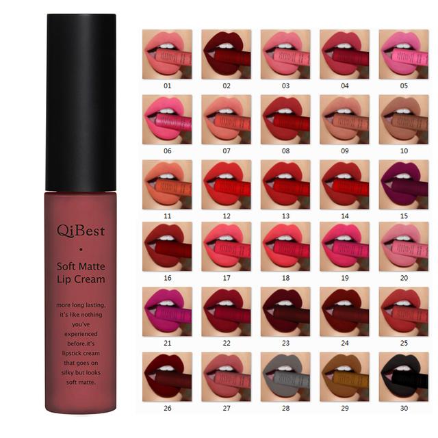 Qibest Brand Lips Beauty Makup Pigment Waterproof Lipgloss Long Lasting Black Velvet Matte Nude Lipstick Red Lip Gloss Lot
