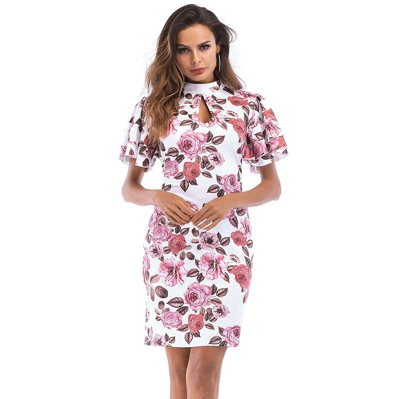 New Summer Flower Straight Dress Women Short Flare Sleeve Flower Hollow Out Vestido De Festa Floral