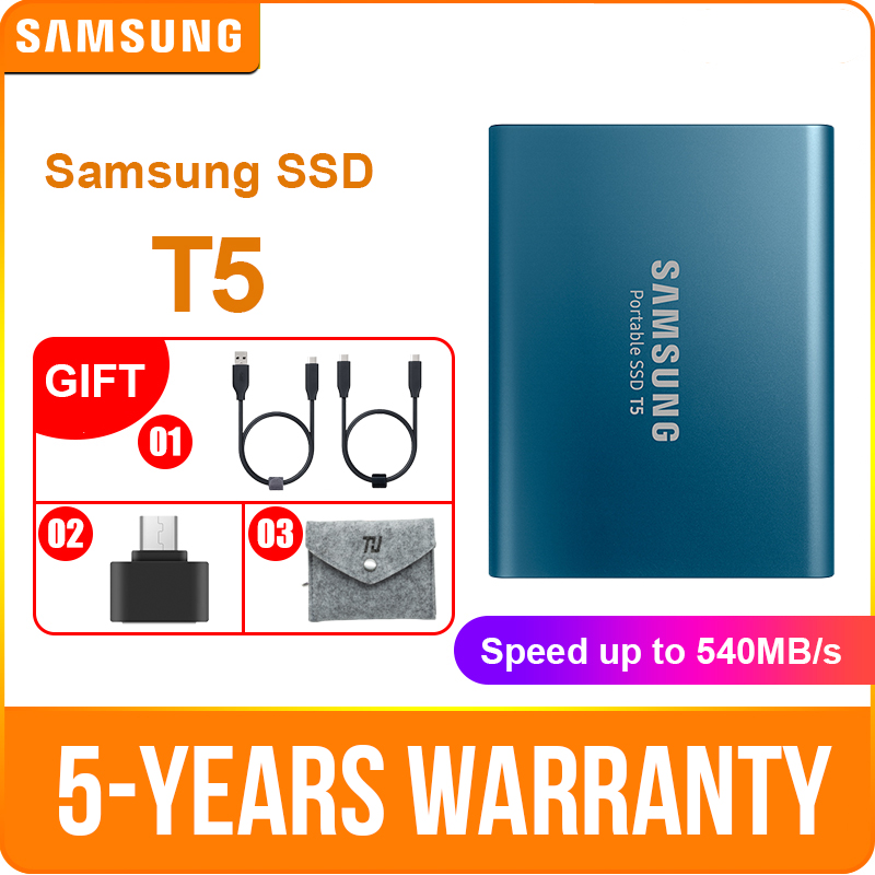 SAMSUNG T5 External SSD 500GB USB3 1 for Desktop Laptop PC Hard Drive External Solid State