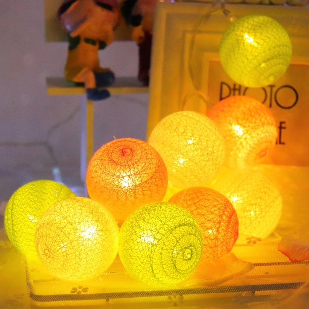 1M LED String Light 5 см Памук Топка Празник - Празнично осветление - Снимка 4