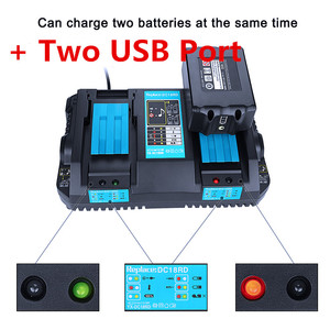 LED light 18V Dual Battery Charger for Makita BL1860 BL1815 BL1830 BL1835 LXT 400 DC18RD Makita 14.4V-18V with USB Port(China)