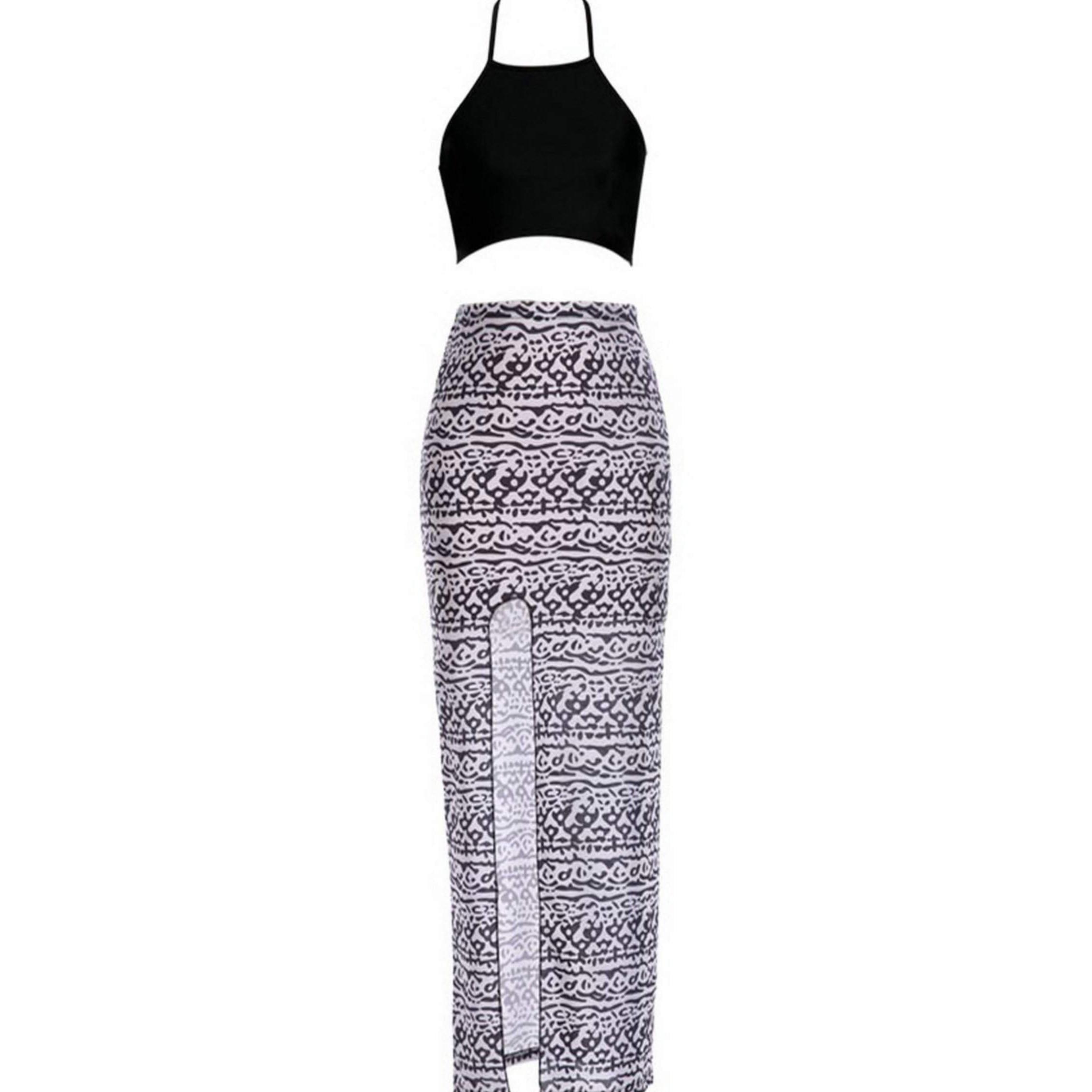 9be3cb7293f22 女性のセクシーな夏ツーピースセットブラックドレスbraletトップス+黒-白プリントロングマキシスカート