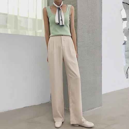 Hot Sale 2019 Women Summer Fashion Elegant Solid Ol Office   Pants   Casual Loose High Waist Full Length   Wide     Leg     Pants