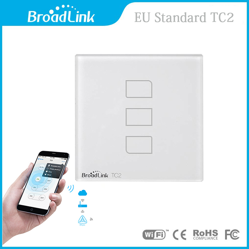 New Arrival EU Standard Broadlink TC2 3 Gang Wireless Remote Control Wifi Wall L