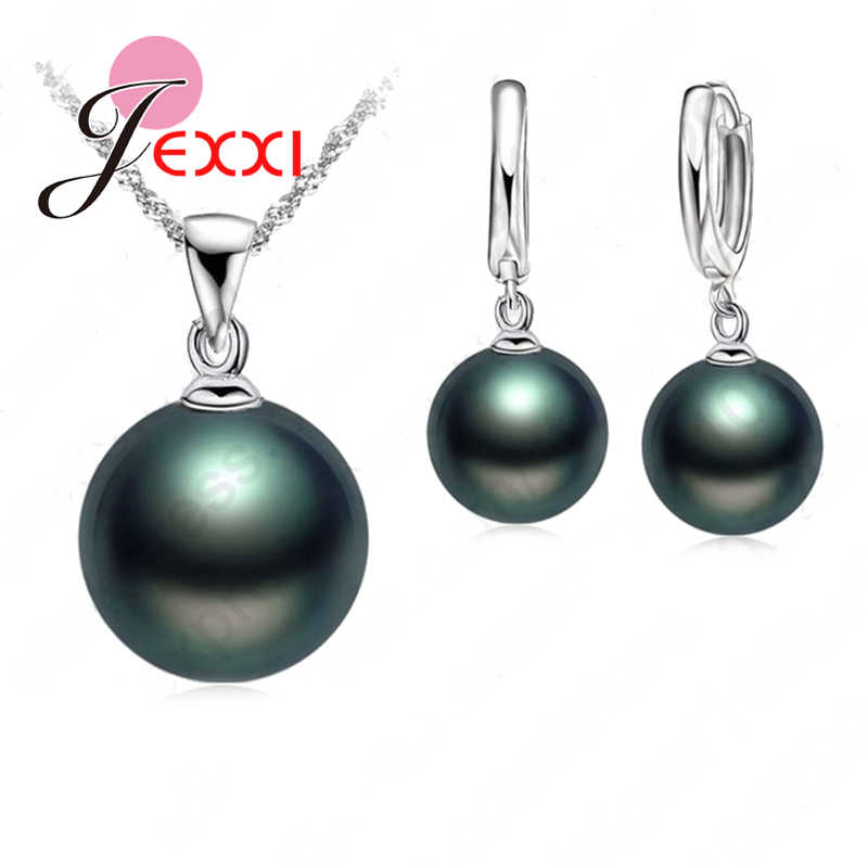 Top Quality Freshwater Black Pearl Jewelry Sets Genuine 925 Sterling Silver  Necklace&Drop Earrings  Wedding Jewelry Sets