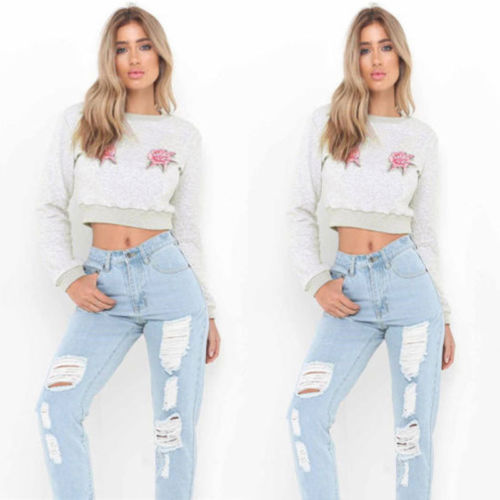7e7b80bae1bc Women's Lady Slim Long Sleeve Casual Hoodies Sweatshirts Crop Tops Fashion  Embroidered Outfit