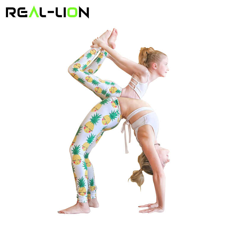 ab1f5454fff4f RealLion Yoga Pants Mother and Daughter Clothes Pineapple Print Gym Leggings  Family Matching Outfits Sports Wear