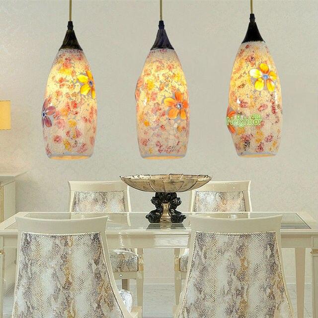Mediterranean Sea Glass Flower Pendant Light Suspension Hanging