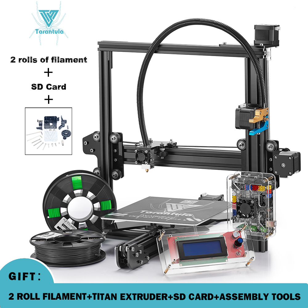 Newest Tevo Tarantula 3D Printer DIY Kit Reprap  impresora 3d printer with Free 3D Printing filament  Titan Extruder  gift large buid size newest kossel k280 delta 3d printer 24v 400w power with auto level and heat bed two rolls of filament gift