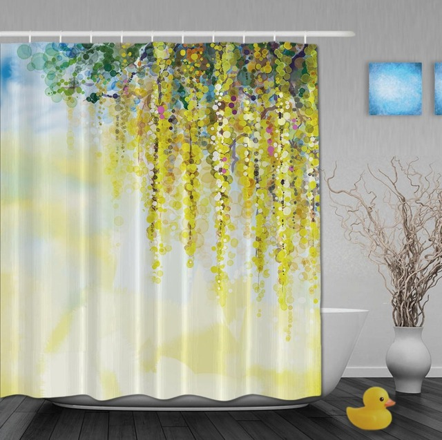 Custom Watercolor Drawing Beautiful Springday Yellow Flower Shower Curtains Waterproof Fabric With Hooks Bathroom Curtain