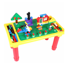 hot deal buy diy blocks desk with baseplate creative brick table foldable educational toy for kids  compatible with brand blocks