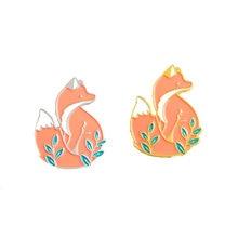 Эмалированная булавка в виде животного с изображением леса лисы