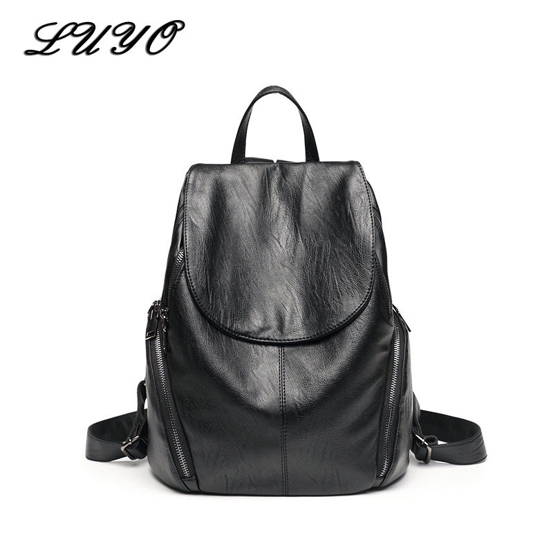 LUYO Soft Genuine Leather Black Backpack Female Women School Bags For Teenagers Sac A Dos Bagpack