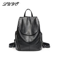 Luyo мягкие Cuir véritable черный рюкзак женские Sacs d'école для подростков SAC DOS Bagpack сзади сумки Молодежные Sacs à DOS