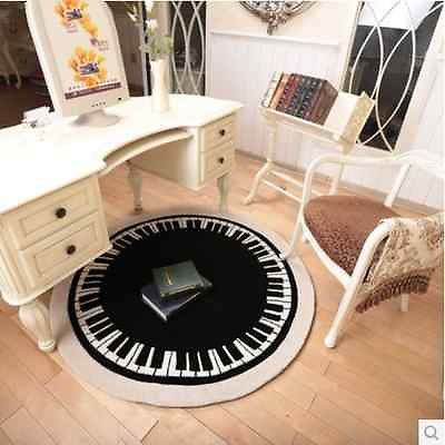 Black And White Piano Pattern Carpet For Living Room Modern Round