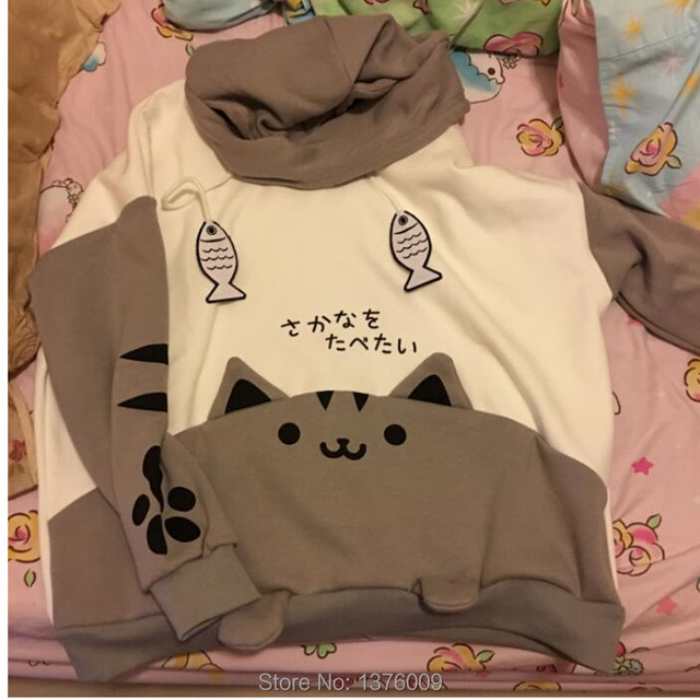 Neko Atsume Hoodie Cute Cat Backyard Kawaii Cat Ears Warm Hoodies Japanease Harajuku Style Student Women Girls Lovely Pullover