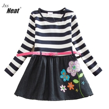 Baby girls dress neat Cotton  vestidos infantil children clothing kids clothes girls long sleeve floral girl dress LH7026 neat wholesale new baby girl clothes college style lovely girls dresses kids clothes long sleeve dress cartoon elephant sg006