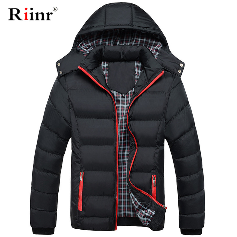 Riinr Brand Men   Parka   Cotton Padded Winter Jacket Coat Mens Warm Jacket Solid Color Stand Collar Zipper Thick Coat Men   Parka