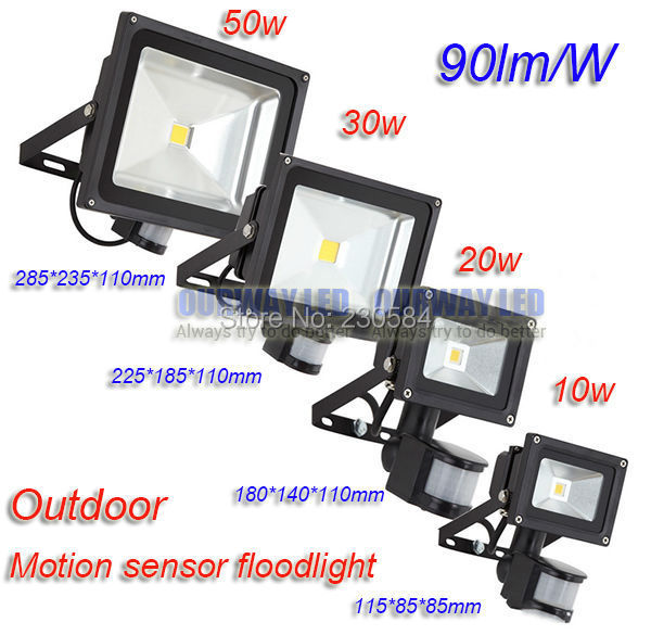 Shenzhen drop shipping 90lm/w IP65 10w 20w 30w PIR Infrared Body Motion Sensor floodlight smart LED Security Lamp ...