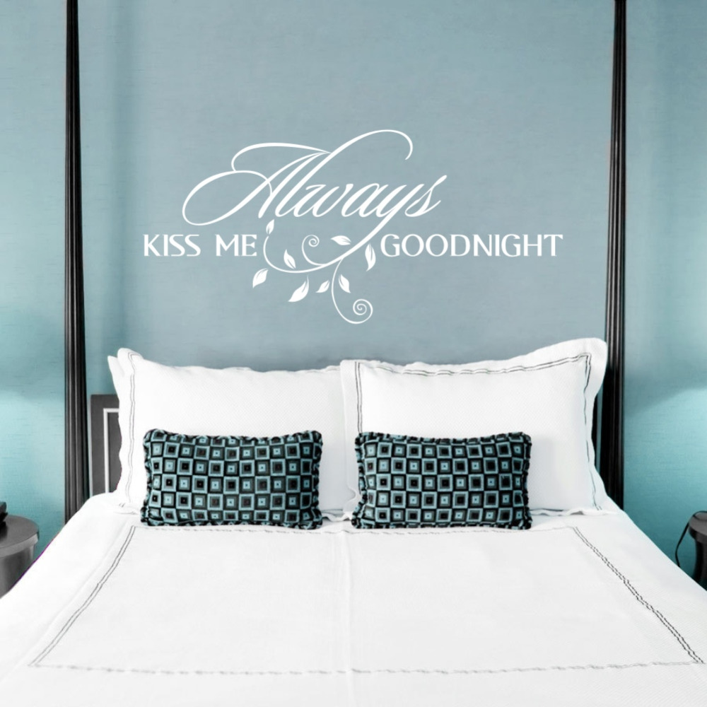 Always Kiss Me Goodnight Loving Art Wall Decal Removable Decorative Vinyl Sticker Home Decor In Stickers From Garden On Aliexpress Alibaba