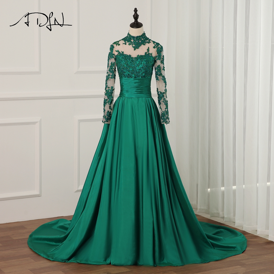 ADLN New Arrival Long Sleeves Prom Dresses Luxury Beaded Crystals Applique Taffeta Formal Evening Dress Party