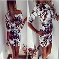 2017 New Fashion High quality Women Summer half sleeve slim bodycon vintage floral print sexy mini Dress Vestido Curto Cortos