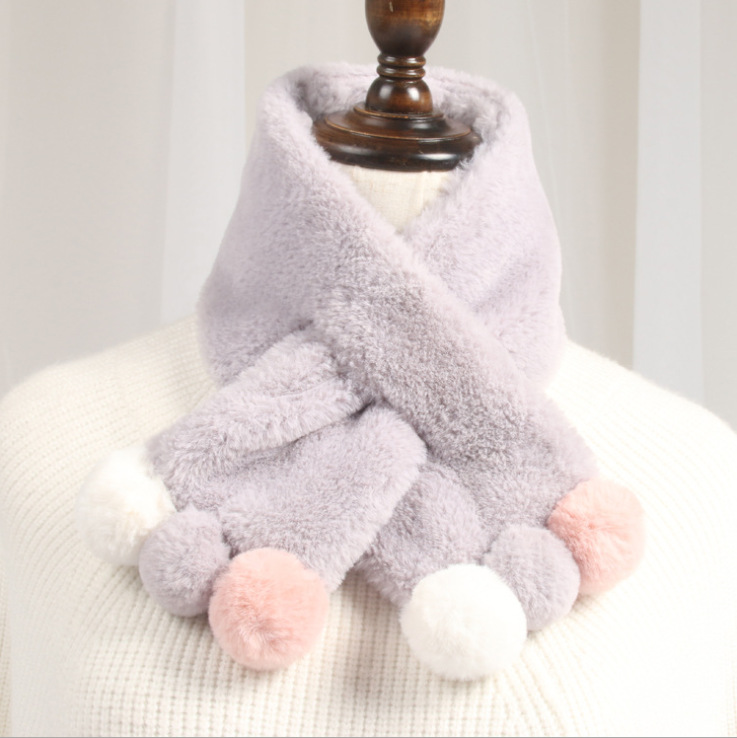 Зимний милый детский шарф, шарфы для мальчиков и девочек, детский шарф с воротником из искусственного меха кролика с помпоном, теплые шарфы - Цвет: Gray