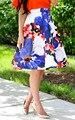 2017 mujeres del verano falda de flores de la impresión floral de cintura alta un line longitud de la rodilla femme gimnasio lolita elegante faldas 00402