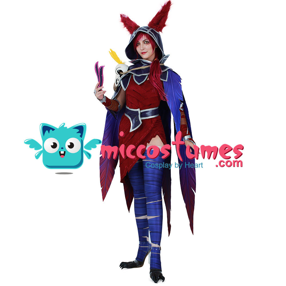 Xayah Cosplay Costume with Ears, Bird feet covers and Skull decoration