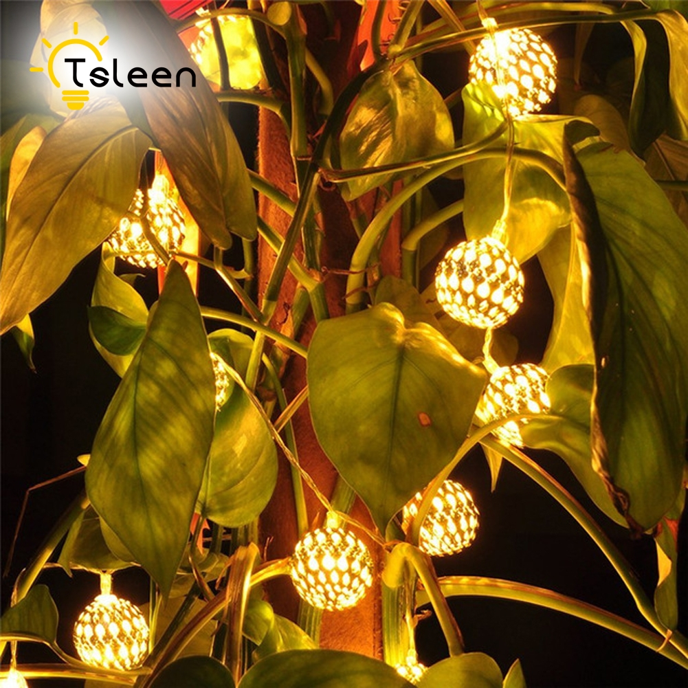 TSLEEN 20Leds Battery Operated LEDs 2m Moroccan Ball String Lights Outdoor Party Decor Christmas Xmas Tree Decorative Lamp evelots battery operated self stirring mug black set of 2