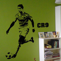 Free Shipping Wholesale And Retail Wall Stickers Wall Decor Home Decor Football Star Cristiano Ronaldo